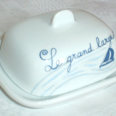 Grand beurrier personnalisable en porcelaine