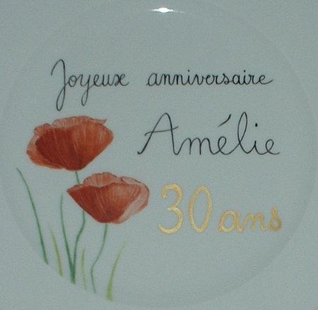 Assiette personnalisée Joyeux anniversaire en porcelaine
