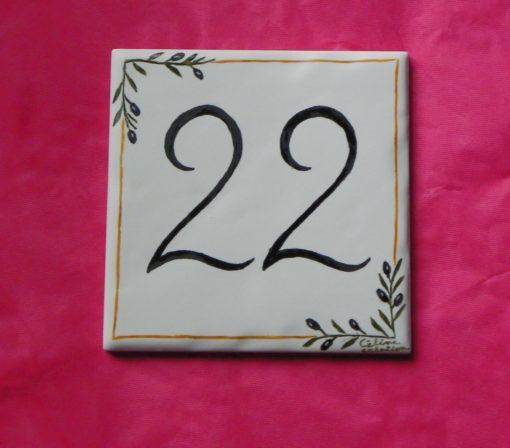 Numéro de maison décor provençal-brins d'olivier