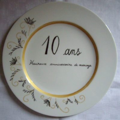 Assiette «anniversaire de mariage»