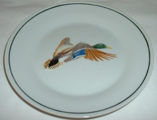 Assiette à dessert canard en vol -porcelaine