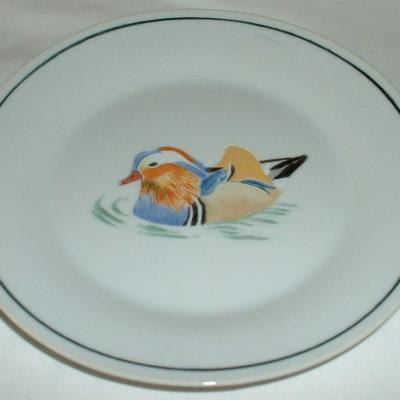 Assiette à dessert décor canard mandarin-porcelaine