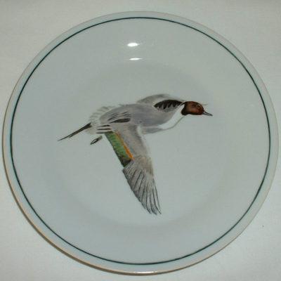 Assiette à dessert décor sarcelle d'hiver-porcelaine