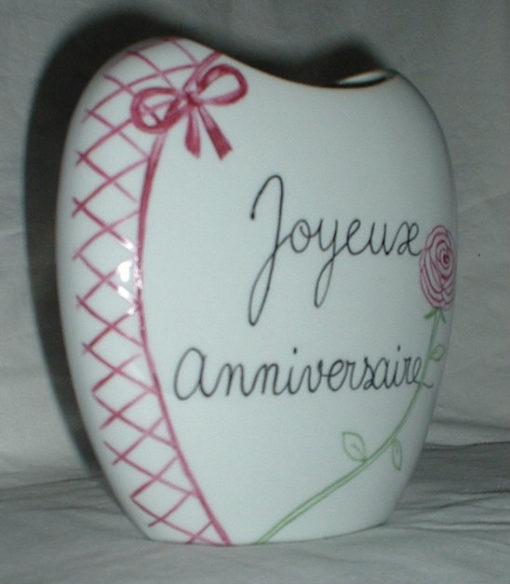 Vase anniversaire personnalisé en porcelaine