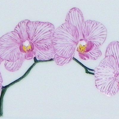 Plat à cake «orchidées»