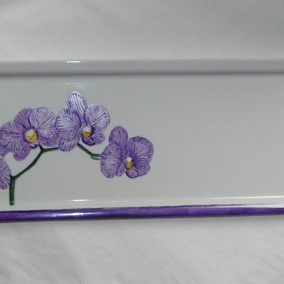 Plat à cake motif orchidées en porcelaine