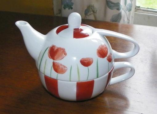 Ensemble pour le thé-café décor coquelicots