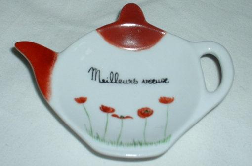 Repose sachet thé coquelicots texte personnalisé en porcelaine