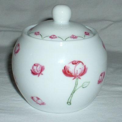 Sucrier motif «roses»