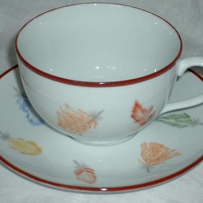 Tasse et sous tasse petit déjeuner «plumes»