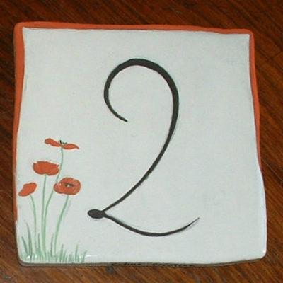 Numéro de maison coquelicots