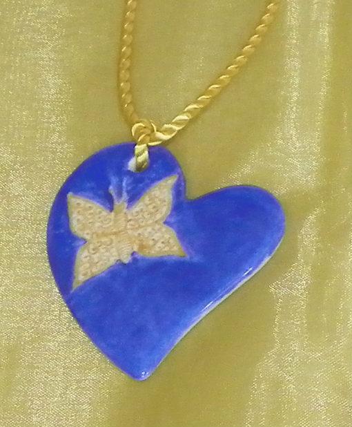 Collier coeur et papillon