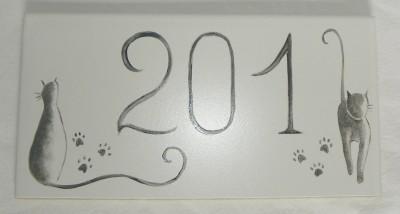 Plaque de maison «chats» 20cmx10cm