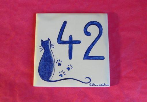 Numéro de maison motif chat assis