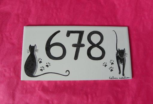Plaque de maison déco chats et pattes de chats 20cmx10cm