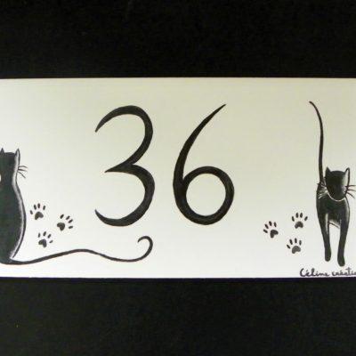 Plaque de maison déco chats 20cmx10cm