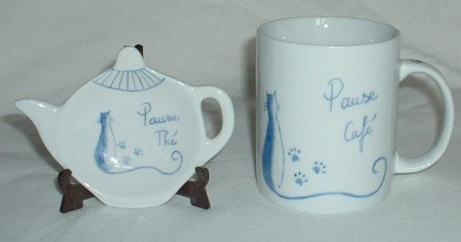 set thé-café 3 pièces motif chat