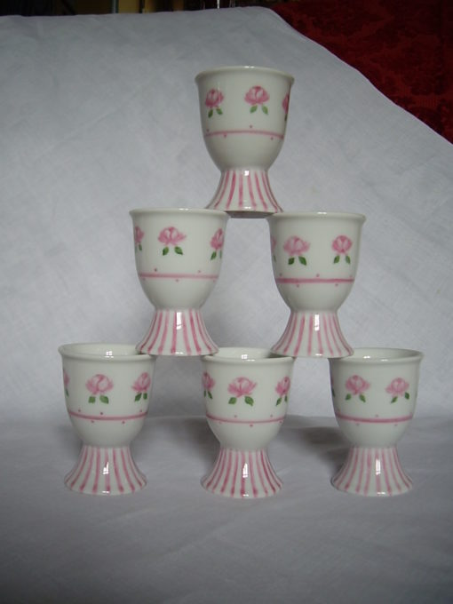 4 coquetiers motifs roses