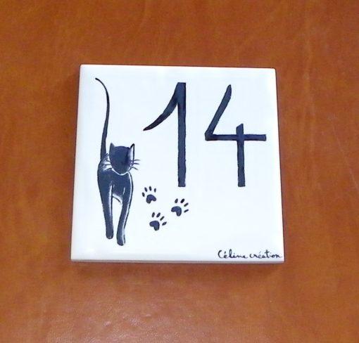 Numéro de rue décor chat