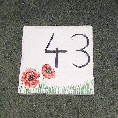 Carreau avec numéro de maison