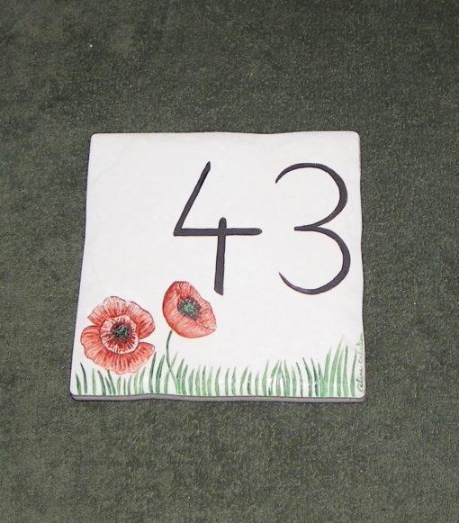 Numéro de maison motif coquelicots