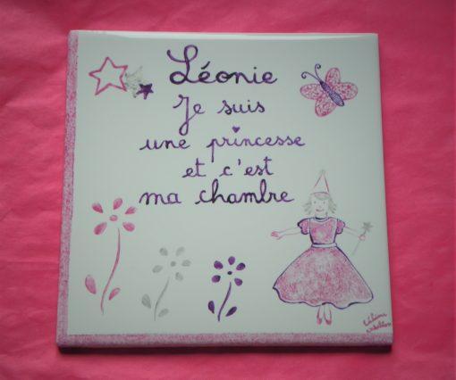 Plaque personnalisée pour chambre enfant princesse
