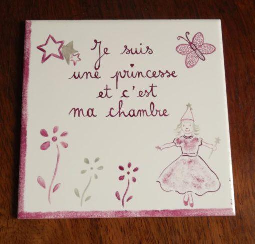 Plaque murale pour chambre enfant «princesse»