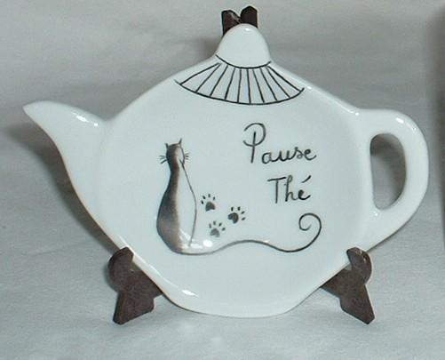 Mug et repose thé assortis motif chat noir