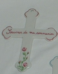 Croix en porcelaine personnalisable pour communion