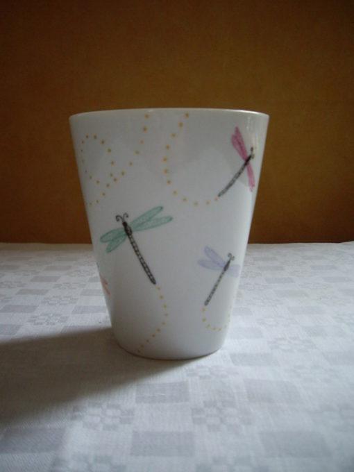 Mug en porcelaine motif libellules