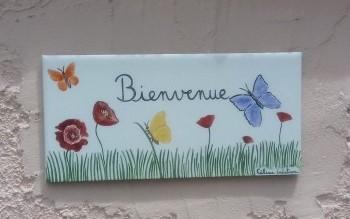 Plaque de maison avec nom et/ou décor au choix