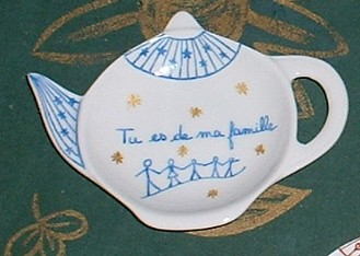 Lot de 5 repose sachet thé avec messages personnalisés