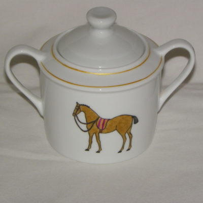 Service a the-cafe motif chevaux en porcelaine