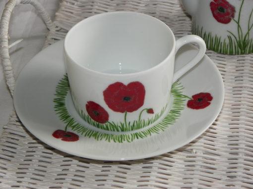 Service thé ou café en porcelaine pour 2 decor coquelicots