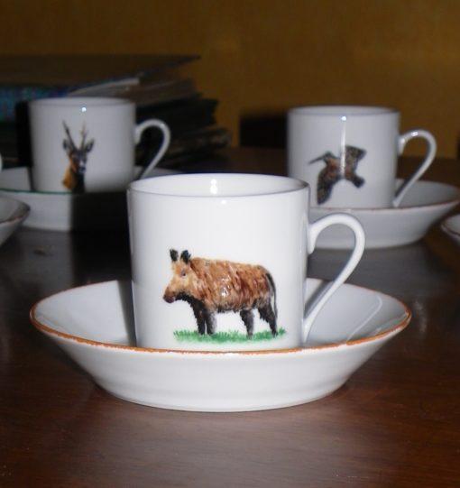 Service à café pour 6 décors gibiers-porcelaines peintes à la main