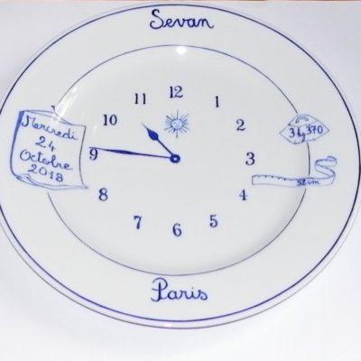 Assiette pendule à personnaliser-porcelaine