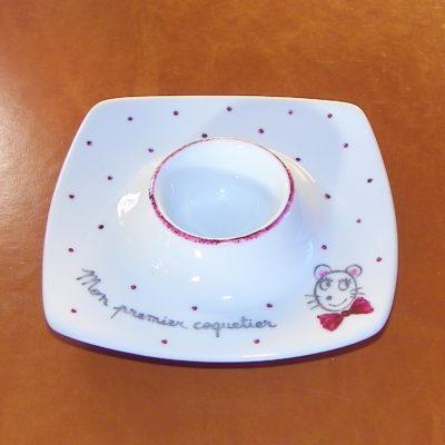 Coquetier plat en porcelaine-personnalisé