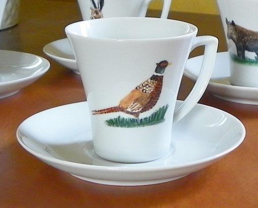6 grandes tasses à café décor animaux en porcelaine
