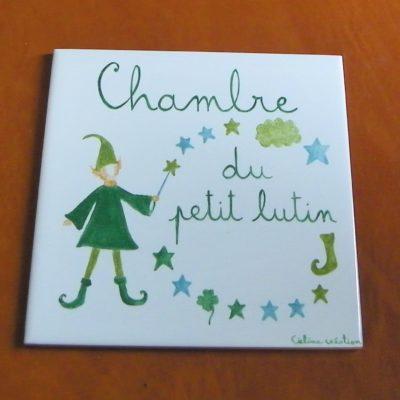 Plaque pour chambre enfant décor lutin personnalisée