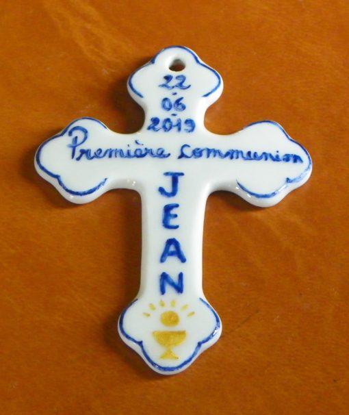 Croix personnalisée cadeau de baptême-communion