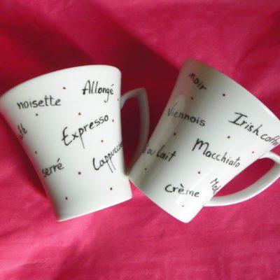 2 tasses à café pour café long texte personnalisé