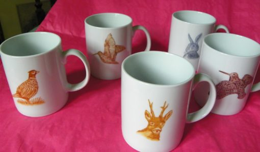 Lot de 6 mugs décor gibier
