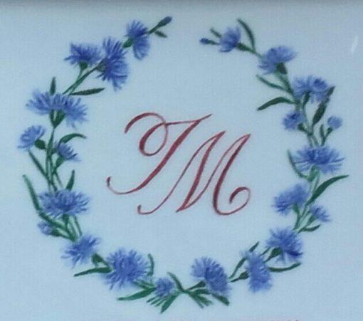 Vide poche personnalisé avec initiales et couronne de fleurs