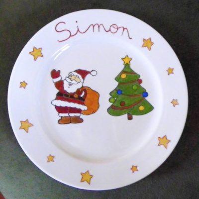 Assiette décor Père Noel personnalisée